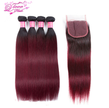 Queen Love Hair 1B/99J Color Pre-colored Malaysia Straight Hair 4 Bundles With Closure Human Hair Weave With Closure Nonremy