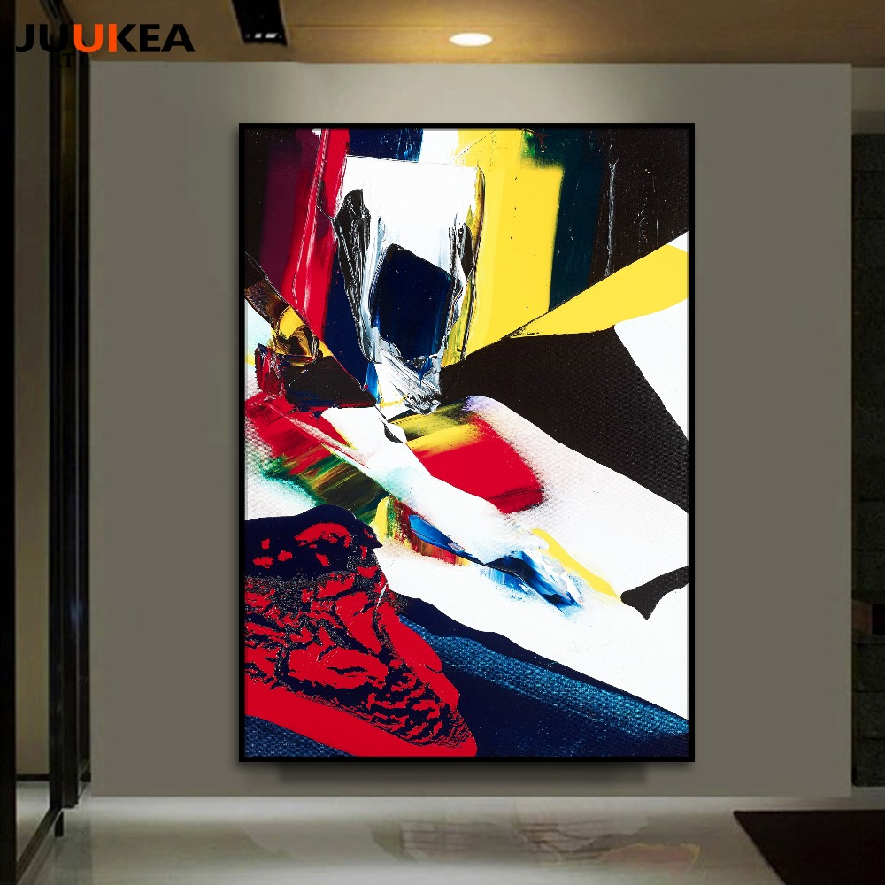 Modern 3d splicing abstract canvas art print painting for Decorative items for drawing room