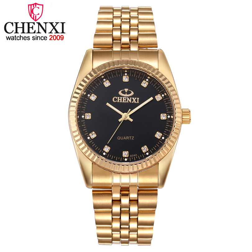 CHENXI Golden Watches for Men Fashion Business Top Brand Luxury Quartz Male Clock Waterproof Wristwatches Relogio Masculino chenxi men quartz wristwatches luxury brand man golden business fashion watch mens shell dial clock dress relogio masculino