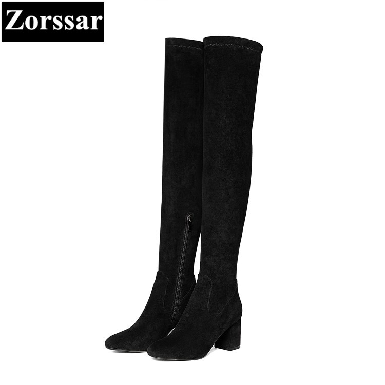 {Zorssar} 2018 New winter fur Women shoes Round Toe Thick heel Knight boots Kid Suede High heels womens over-knee snow boots zorssar brands 2018 new arrival fashion women shoes thick heel zipper ankle chelsea boots square toe high heels womens boots