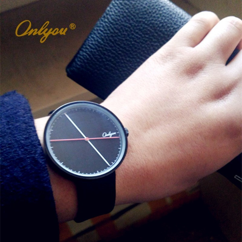 ONLYOU Brand Watches Women Men Fashion Casual Genuine Leather Quartz Wrist Watch For School Boys Girls Black Yellow Color 81012 splendid brand new boys girls students time clock electronic digital lcd wrist sport watch