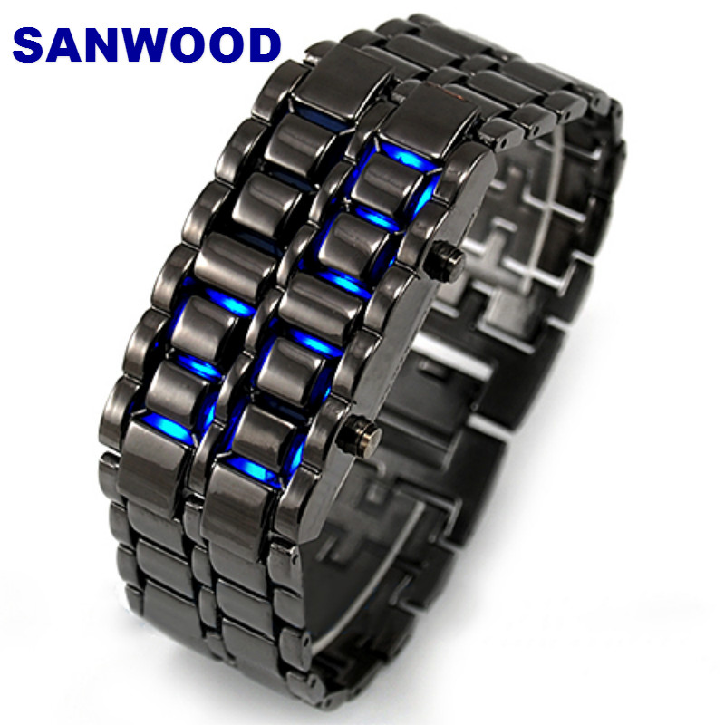 SANWOOD Newest Stainless Steel Bracelet Watch Men Women Lava Iron Samurai Metal LED Faceless Digital Wristwatches  Hot Sales