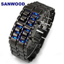Stainless Steel Bracelet Watch Men Women Lava Iron Samurai Metal LED Faceless Wristwatch New Design