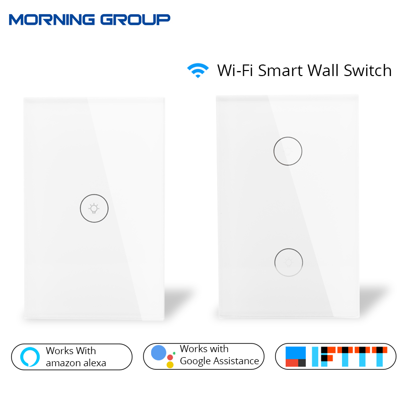 Wifi Smart Wall Touch Switch Glass Panel US Standard APP Remote Control Works with Amazon Alexa Google Home for Smart Home sonoff t1 us smart touch wall switch 1 2 3 gang wifi 315 rf app remote smart home works with amazon free ios and app ewelink