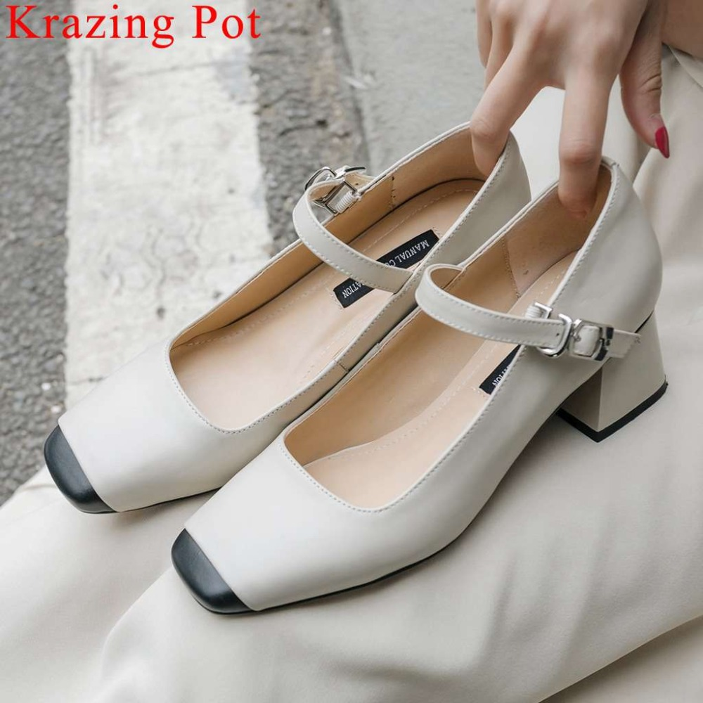 Krazing Pot mixed colors genuine leather chunky low heels buckle strap retro square toe preppy style