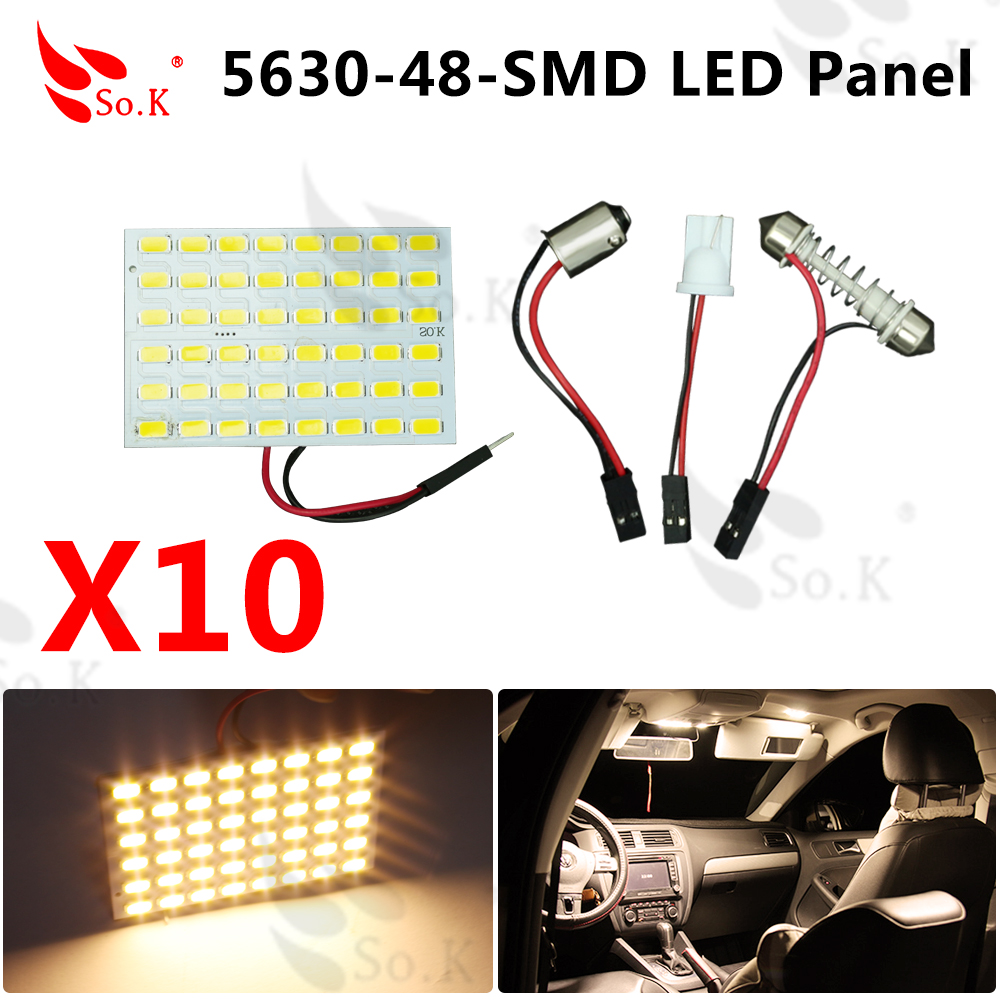 10x warm white Car 48 SMD 5630 LED panel Light Dome Interior Bulb T10 Festoon Spring 12V 10x