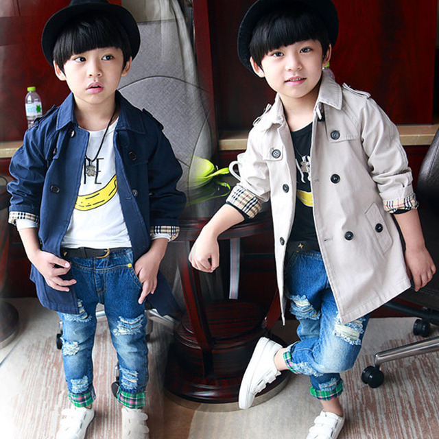 Retail Fashion spring autumn boy trench Kids coat Double Breasted Children Outwear Baby Clothing Roupas Infantis B0389