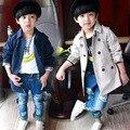 Varejo de Moda primavera outono menino trench coat Crianças Double Breasted Crianças Outwear Roupas de Bebê Roupas Infantis B0389
