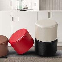 Yazi PU Leather Round Stools Ottoman Sofa Chair Portable Furniture Kids Stool Soft Foam Seat Cushion