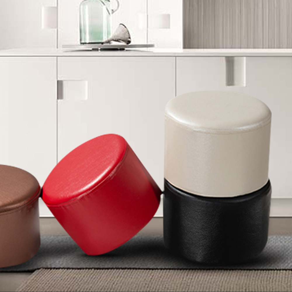 Yazi Pu Leather Round Stools Ottoman Sofa Chair Portable