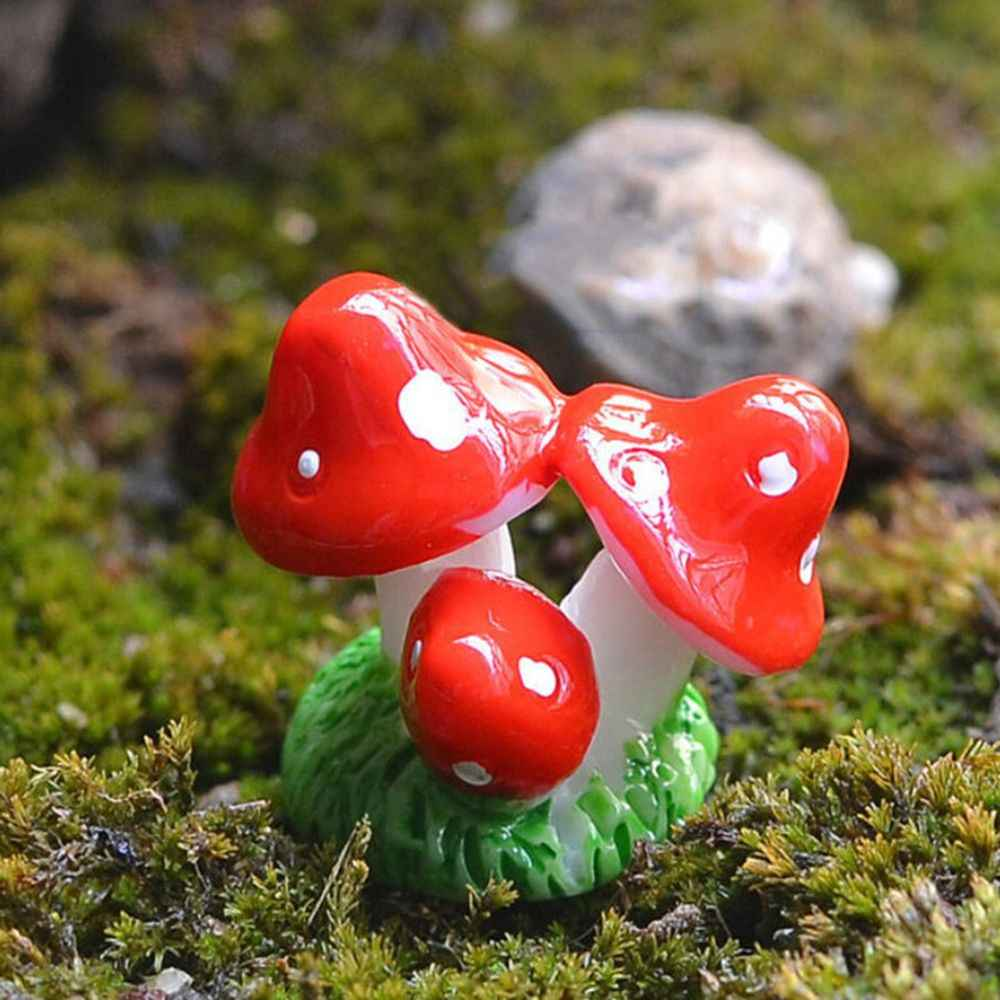 Rot Mini Pilz DIY Puppenhaus Harz Handwerk Fee Garten Miniaturen Garten Ornament Dekoration Terrarium Figuren Decor