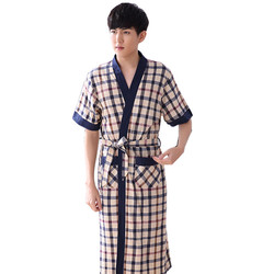 2017 summer 100 cotton mens bath robe male knee length sleepwear bathrobes for man lounge 5931.jpg 250x250