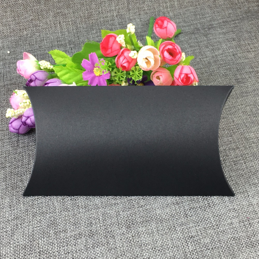Home & Garden 18*10*3cm Kraft Paper Black Jewelry Pillow Shape Box 50pcs/lot Display Package Blank Boxes For Candy/toy/gift Accept Custom Logo Event & Party