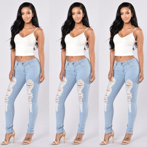Women's Denim Skinny Ripped Pants Mid Waist Stretch Jeans Slim Pencil Trousers Women Ladies Hole Brief Pant Jean 2017 spring hole elastic jeans leggings jean trousers denim jeans womens slim skinny pencil pants ripped jeans for women 1407