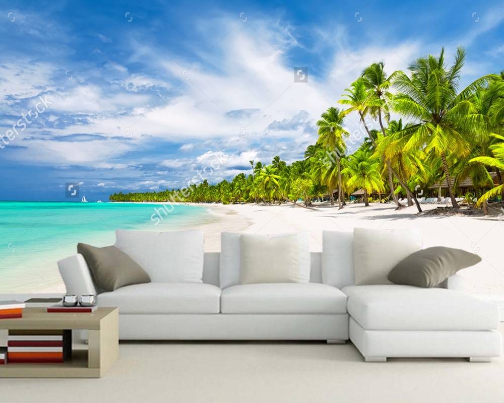 Custom home decoration wallpaper,Coconut Palm trees on white sandy beach,natural landscape for living room bedroom background купить