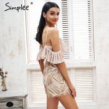 Simplee Sexy cold shoulder mesh embroidery romper women Strap ruffle elegant playsuit 2018 High waist summer macacao feminino