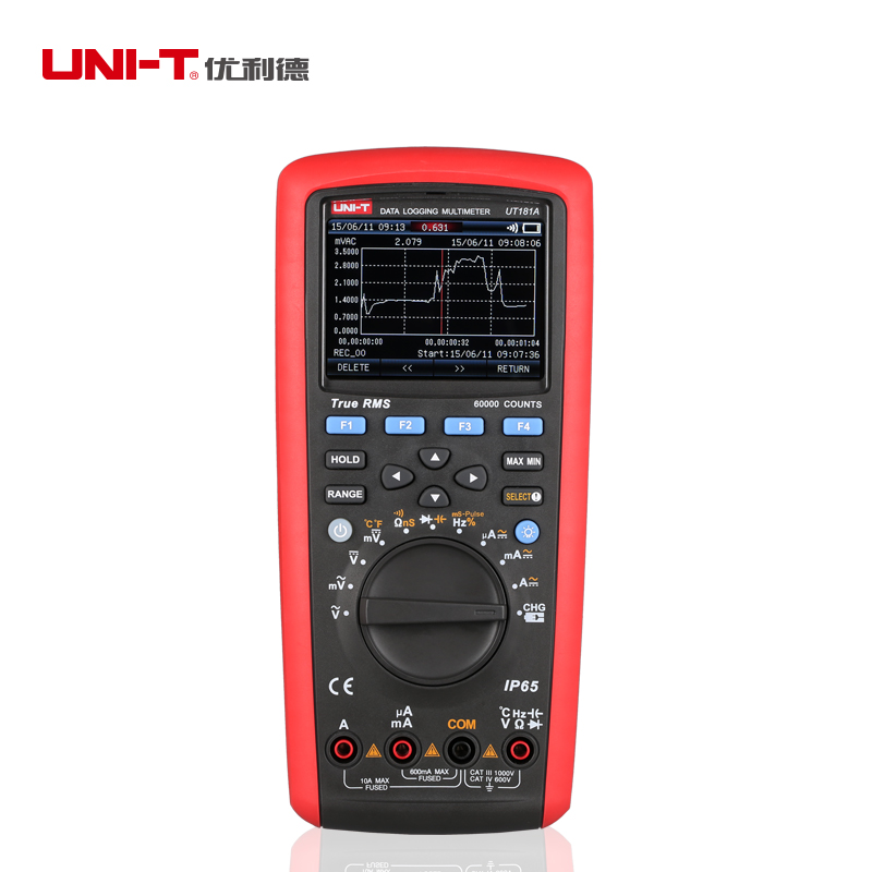 UNI-T UT181A Vero RMS Multimetro di Registrazione Dei Dati Smart Phone/Software per PC, Funzione di Cattura di Tendenza IP65 Impermeabile 0.1% Accuratezza del Test