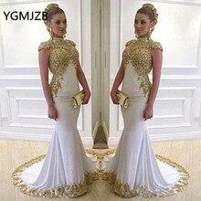 白教徒のイブニングドレスロング2020マーメイドハイネックゴールド刺繍クリスタル春秋の女性フォーマルパーティーウエディングドレス