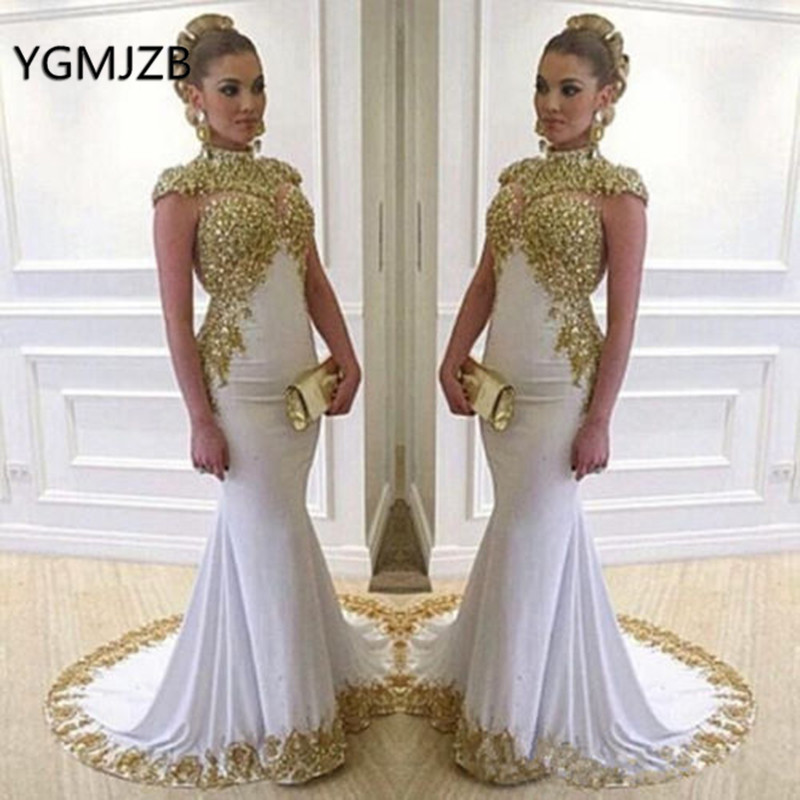 Muslim Arabic   Evening     Dress   Long Mermaid 2019 High Neck Gold Embroidery Beads Cap Sleeves White Formal Prom   Evening   Gowns