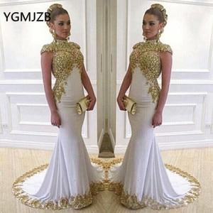 Image 1 - Weiß Muslimischen Abendkleider Lange 2020 Meerjungfrau High Neck Gold Stickerei Kristalle Frühling Herbst Frauen Formale Party Prom Kleider