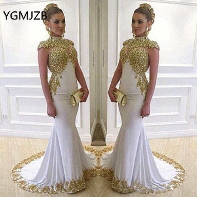 Weiß Muslimischen Abendkleider Lange 2020 Meerjungfrau High Neck Gold Stickerei Kristalle Frühling Herbst Frauen Formale Party Prom Kleider