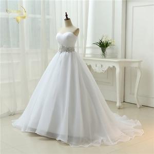 Image 3 - Vendita calda Bianco Vestido De Noiva 2020 di Nuovo Disegno UNA linea Perfetta Cinghia Robe De Mariage Senza Spalline Lace Up abito Da Sposa abiti OW 7799