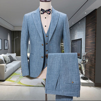Новый дизайн синий льняной костюм для мужчин Slim Fit Свадебные костюмы для мужчин повседневные летние пляжные Жених лучший мужской блейзер 3 ш