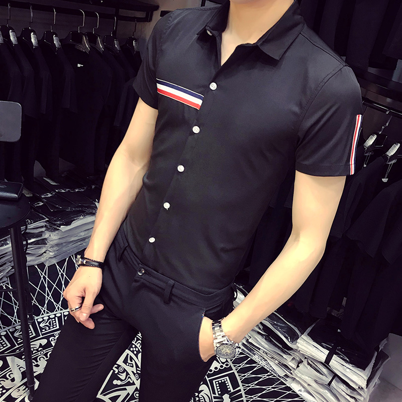 2018 New Men Shirt Summer Slim Fit Short Sleeve Business Casual Work Shirts Plus Size Solid Simple Striped Social Shirt Dress