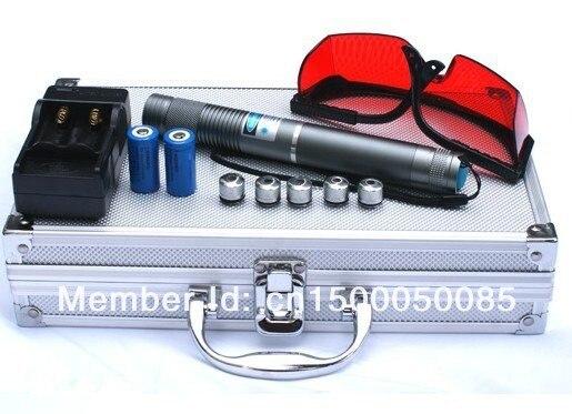 цена на High power Military Blue laser pointer 200000mw 200W 450nm Burning match Dry wood,Burn Cigarette+5 caps+Glasses+Charger+Gift Box