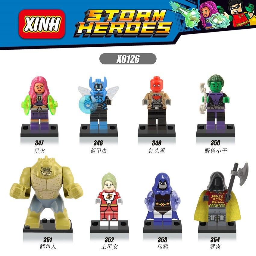 X0126 Building Blocks Super Heroes Starfire Saturn Girl Robin Blue Beetle Killer Croc Beast Boy Bricks Action Children Gft Toys