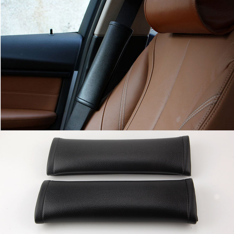 2x Universal Interior Leather Car Safety Seat Belt Shoulder Pads Cover Cushion Decoration Black Fit for BMW