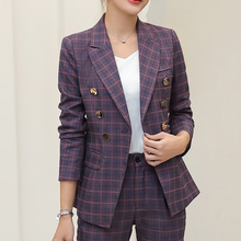 Casual Plaid Women Blazer Jacket Notched Collar Double Breasted Female
