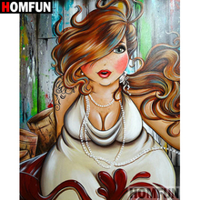 HOMFUN 5D DIY Diamond Painting Full Square/Round Drill Fat woman 3D Embroidery Cross Stitch Mosaic Home Decor A06072