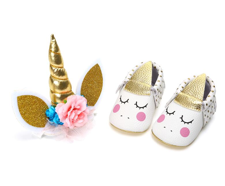 86d3a61febe11 US $6.59 49% OFF|2019 New 2pcs/set Party Unicorn Horns Headband + Baby Girl  Tassel Soft Sole Shoes Newborn Infant Toddler Moccasins First Walkers-in ...