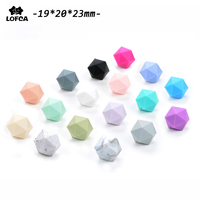 Silicone Beads For Teething Necklace Jewelry DIY Icosahedron Beads Better Than Hexagon 50pieces/lot