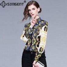 Simgent Office Lady Blouse Long Sleeve Turn Down Collar Casual Elegant Slim Printed Shirts Woman Clothing Blusas Female SG812077