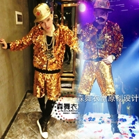 2019 new hip hop fashion jackets male singer DJ personality mirror sequined baseball jacket singer costume