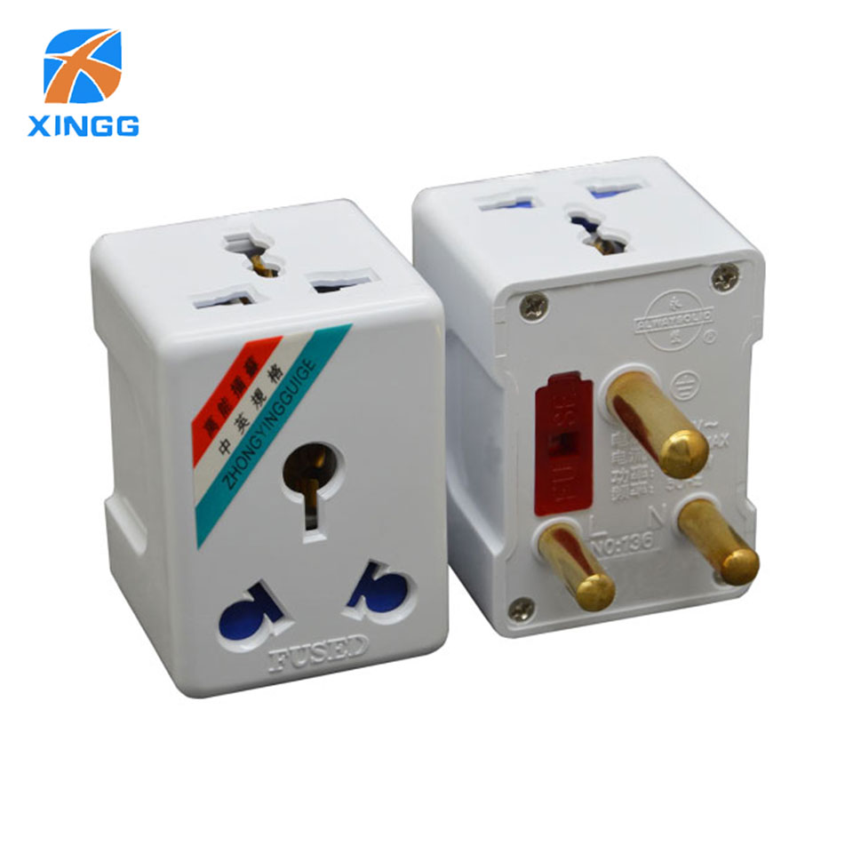 South Africa 3 Round Pin Electrical Plug Socket 15A 250V AC Adapter Pure Copper Travel Converter Power gsm Outlet With Fuse