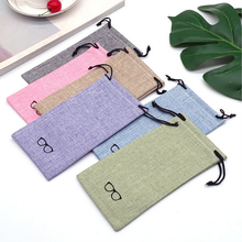 Simple 1pcs Colors Portable Linen Fabric Sunglasses Pouch For Eye wear Smooth Surface Container Glasses Bag
