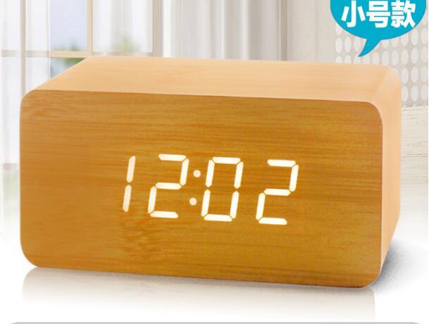 LED Digital Wooden Alarm Clock Despertador Sound Control USB Temperature Display Electronic Desktop Table Alarm Clocks