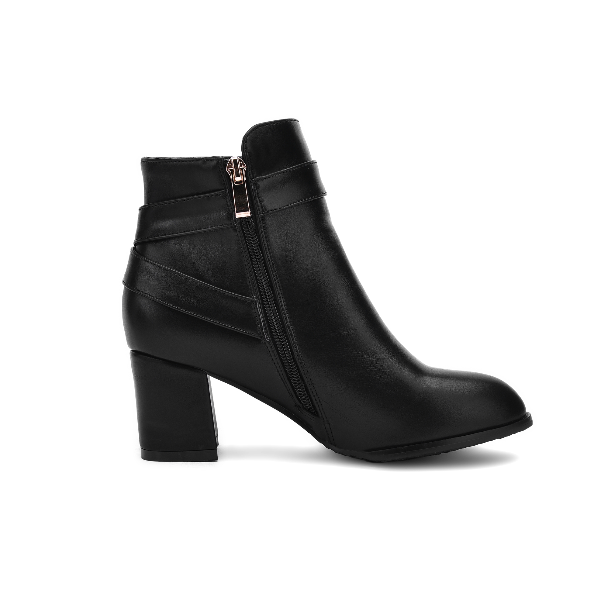 Image 4 - Autumn Women Boots Square High Heel Ankle Boots Fashion Pointed Toe Buckle Winter Zipper Boots Female Shoes Black White Beige-in Ankle Boots from Shoes