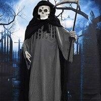 Электрический Грим жнец может сделать страшный голос загорается жуткие глаза встряхнуть серп Хэллоуин украшение стоя большая маска призра