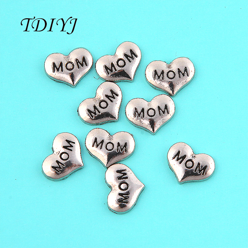 TDIYJ Hot Selling Silver Alloy MOM Heart Floating Charms for 30mm Glass Locket as Mothers Day Gifts 20pcs/lot ...