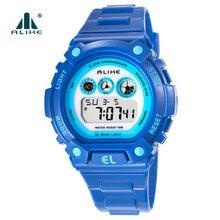 LES S un Choc Extérieur Enfants Sport Montres Quartz Numérique Montre Militaire Étanche En Silicone Montre-Bracelet LED Horloge G Style