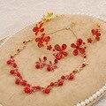 3 UNIDS nupcial perla accesorios de la boda aretes collar nupcial de la joyería roja diadema