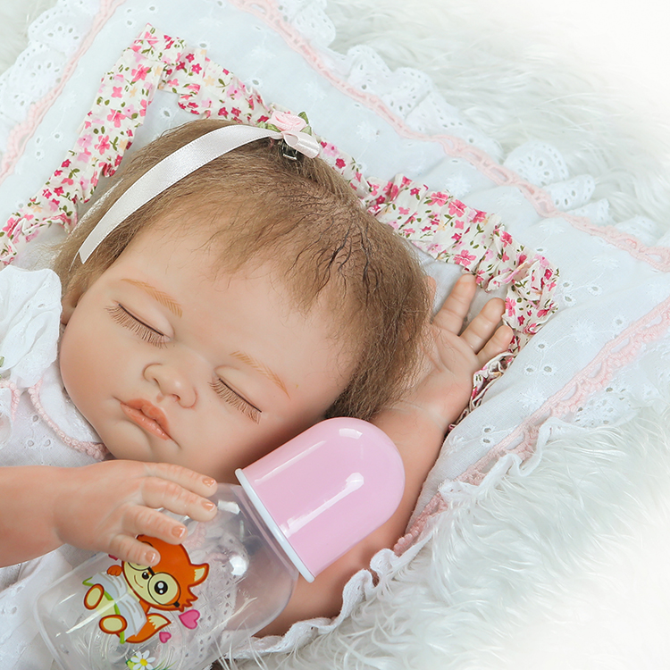 Full Body Silicone Reborn Baby Doll Toys 50cm Lovely Newborn Girl Babies Dolls Brithday Gift Present Child Brinquedos Bathe toy new lovely rabbit baby full silicone reborn babies dolls toys the best birthday present gift for kid child bathe shower toys