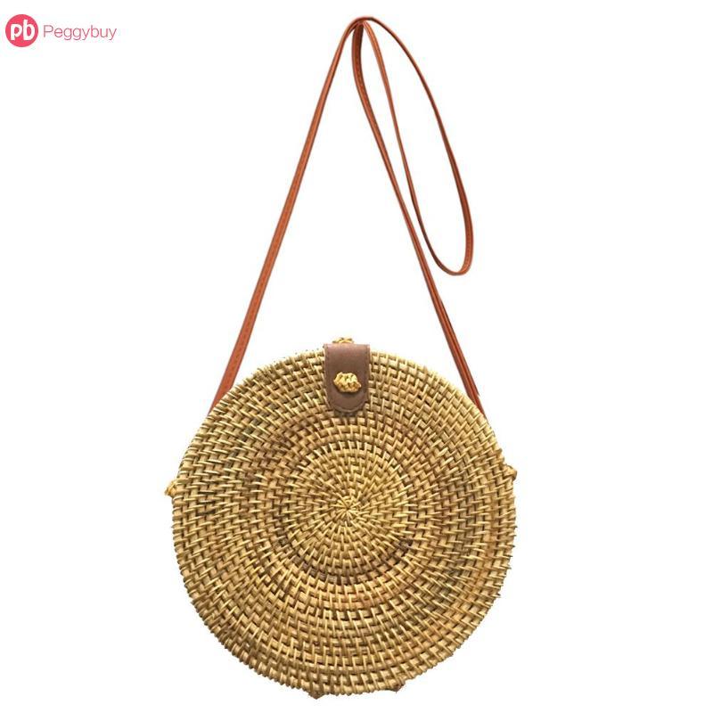 Summer Vintage Handmade Crossbody Leather Bag Round Straw Beach Bag Girls Circle Rattan bag Small Bohemian Shoulder bag