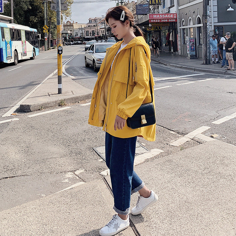 Casual Short Coats Female Spring Autumn 2019 New Korean Casual Loose Hooded Outerwear Short   Trench   Coat for Women Tops v749