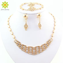 Fine Jewelry Sets For Women Fashion African Costume Jewelry Set Bridal Wedding Accessories Rhinestone Gold Color Necklace Set(China)