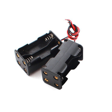 20pcs/lot MasterFire 18650 Battery Holder 6V for 4 x AA Batteries Black Plastic Storage Box Case Dual Layers With Wire Lead